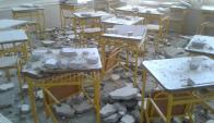 Así quedó el salón de clases. Foto: ADES Cerro Largo