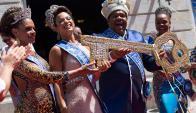 Rey Momo: el viernes recibió las llaves de la ciudad; el alcalde de Río, un evangelista, participó de la ceremonia. Foto: AFP