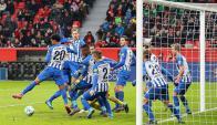Los once jugadores del Hertha Berlin en el arco. Foto: EFE
