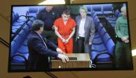 Nikolas Cruz frente a los jueces en Fort Laudardale, Florida. Foto: AFP