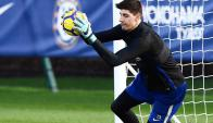 Thibaut Courtois entrena en el Chelsea. Foto: @thibautcourtois