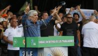 Hugo Moyano durante acto contra Macri. Foto: La Nación | GDA