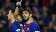Luis Suárez festeja el gol de Barcelona. Foto: AFP