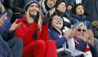 Aplausos de Ivanka Trump y la primera dama de Corea del Sur. Foto: AFP