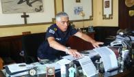 Olivera: el jefe de Policía de Cerro Largo en su despacho. Foto: N. Araújo