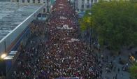 La movilización cubrió trece cuadras de la Avenida 18 de Julio. Foto: Nicolás Pereyra