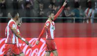 Cristhian Stuani festejando el gol de Girona. Foto: @GironaFC
