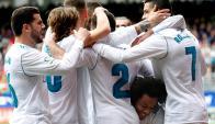 Real Madrid festejando el gol de Cristiano Ronaldo. Foto: EFE