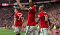 Marcus Rashford festejando el gol para Manchester United. Foto: EFE