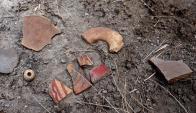 Restos encontrados en el volcán. Foto: AFP