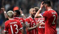 El festejo del Bayern en Estambul. Foto: AFP