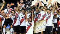 River se quedó con la Supercopa y festejó. Foto: AFP