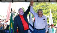 Lula Da Silva y José Mujica hablaron en Livramento. Foto: AFP
