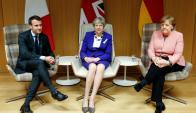 Aliados: Macron, May y Merkel reunidos anoche en Bruselas. Foto: AFP