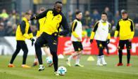 Usain Bolt entranando con el Borussia Dortmund. Foto: Reuters
