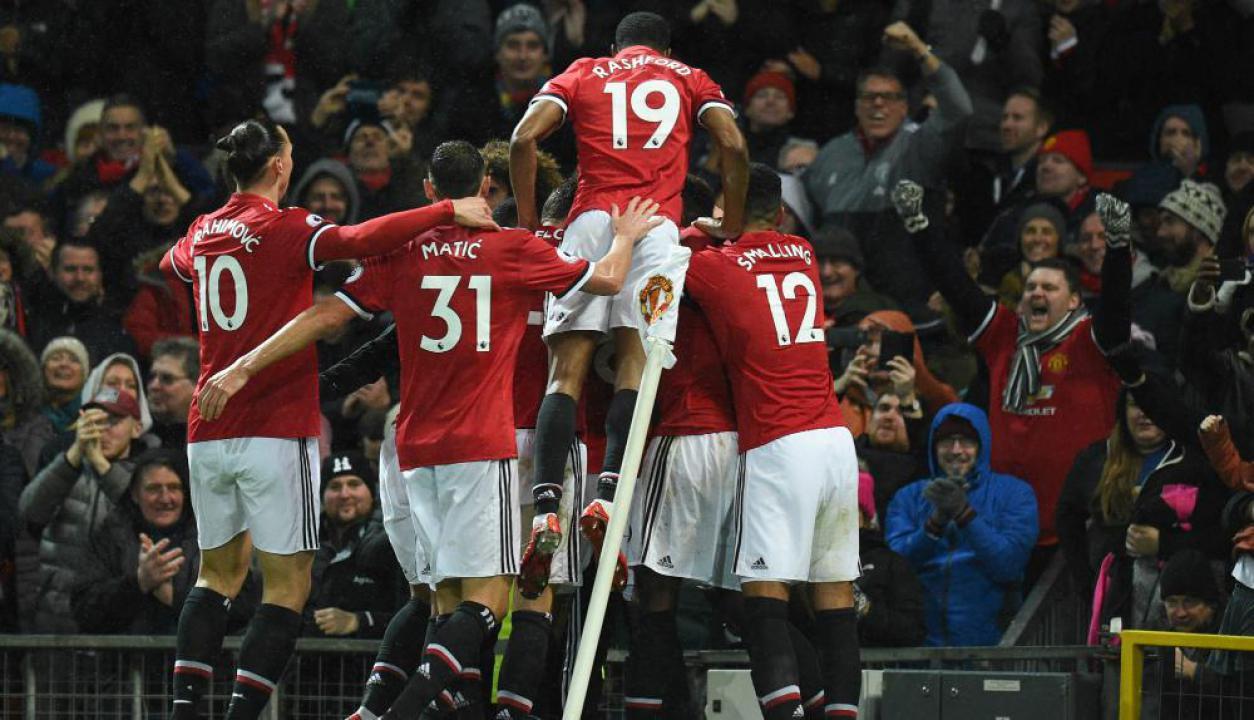 El festejo de Manchester United. Foto: AFP
