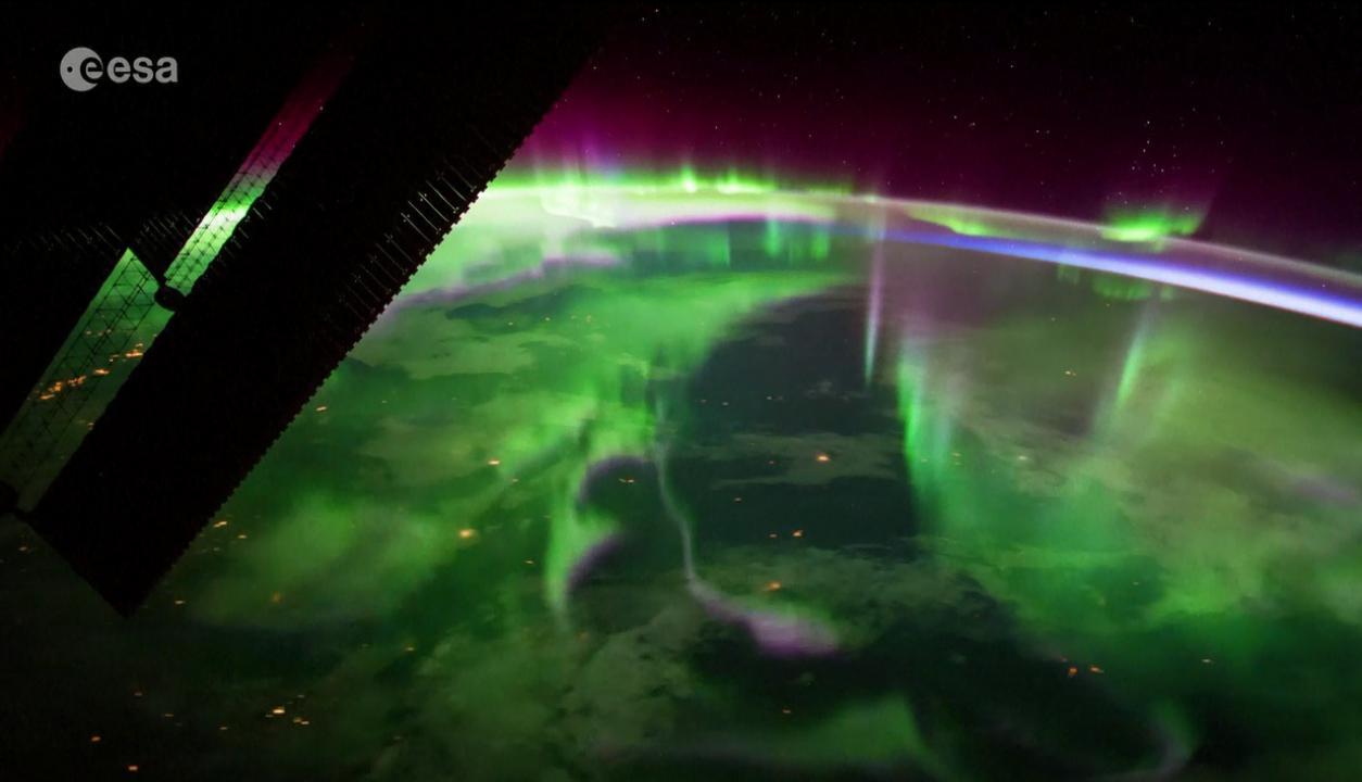 Aurora Boreal desde el espacio. Foto: Captura de video