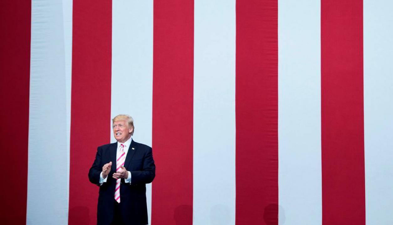 El presidente de Estados Unidos da un discurso en Alabama. Foto: AFP