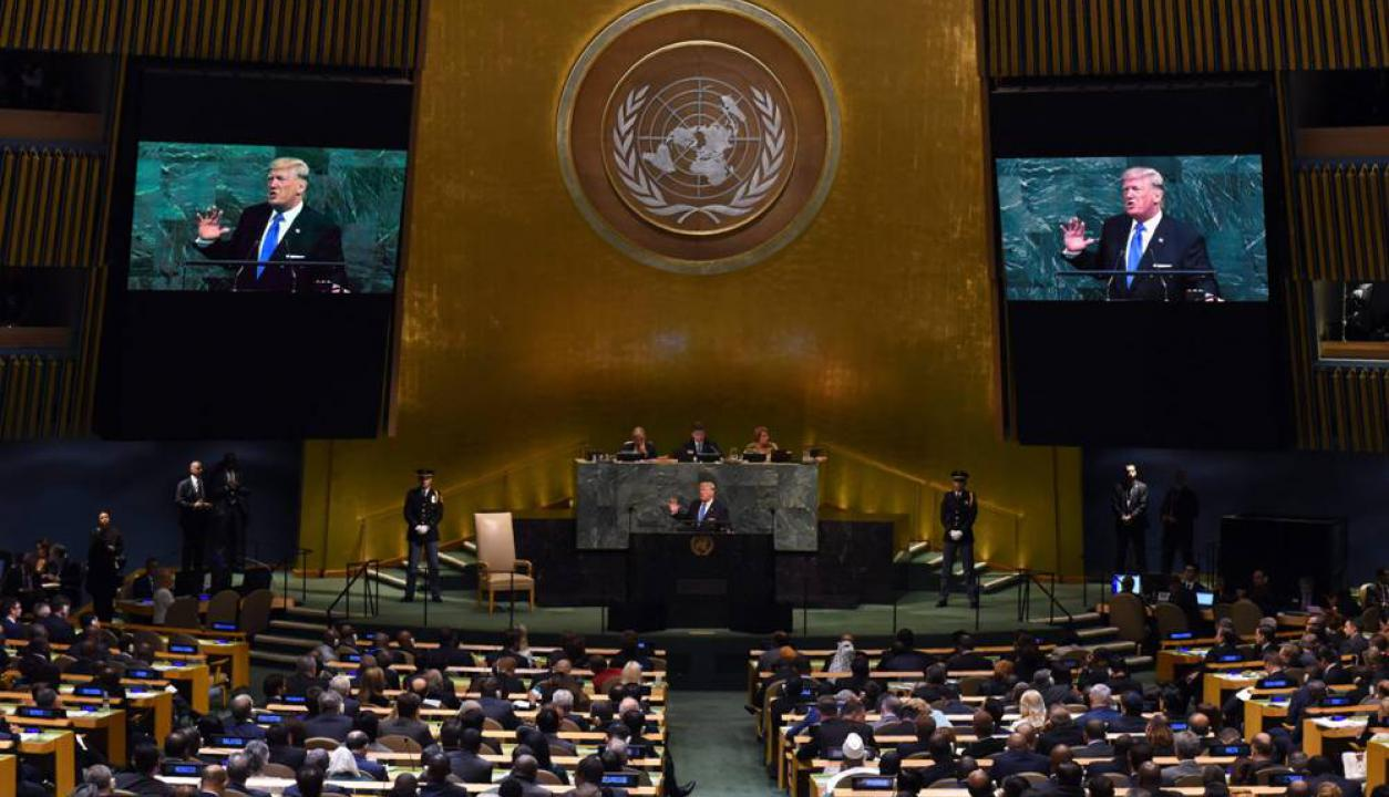 Donald Trump habla en la edición 72 de la Asamblea General de las Naciones Unidas Foto: AFP