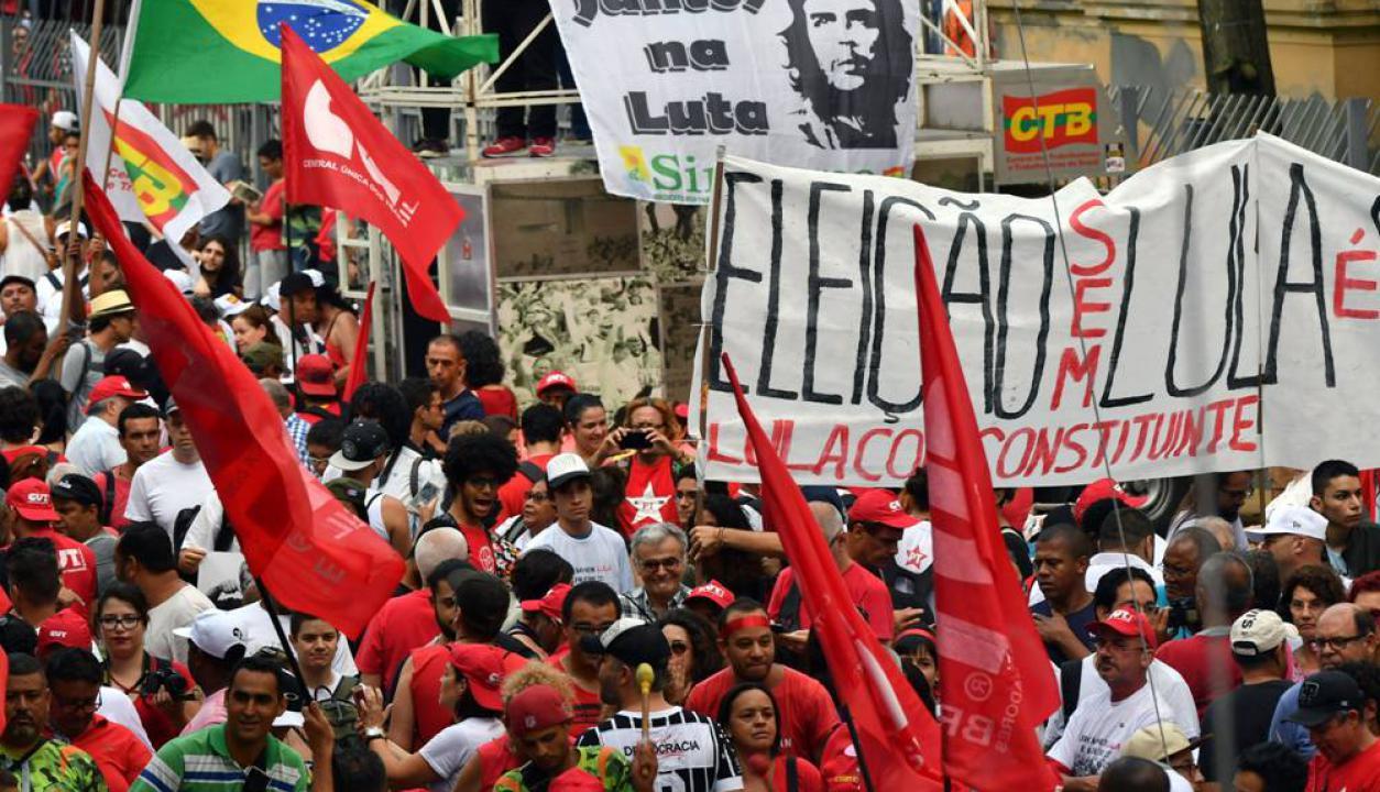 El acto pro Lula se realizó en la Plaza de la República de San Pablo. Foto: AFP