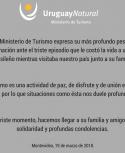 Comunicado del Ministerio de Turismo. Foto: Twitter @Uruguay_Natural