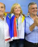Daniel Martínez, Carolina Cosse y Álvaro Villar este miércoles en el Plenario del Frente Amplio. Foto: Marcelo Bonjour