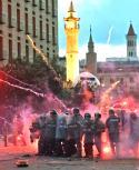Incidentes en Beirut entre manifestantes y fuerzas de seguridad. Foto: AFP