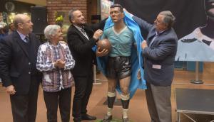Presentación de la estatua de Obdulio Varela ubicada en Tres Cruces. Foto: Francisco Flores