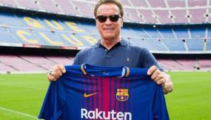 Arnold Schwarzenegger visitó el estadio del Barcelona