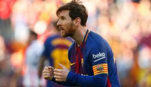 Messi festejó bailando su gol 500 con la 10. Foto: AFP