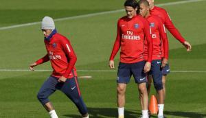 Neymar y Cavani en el entrenamiento del PSG