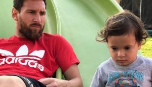 Lionel Messi con su hijo. Foto: captura Instagram Messi