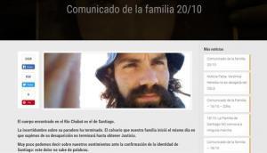Comunicado de la familia de Santiago Maldonado. Foto: Captura