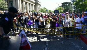 Incidentes fuera del Centro de Justicia de Rivera. Foto: Fernando Ponzetto.