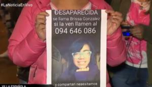 Familiares de Brisa solicitan colaboración para encontrar a la niña. Foto: Captura Telenoche