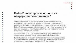 El comunicado de Redes Frenteamplistas. Foto: captura