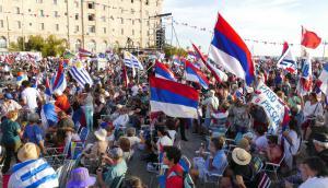 El Frente Amplio celebró sus 47 años con un multitudinario acto en Piriápolis. Foto: Ricardo Figueredo