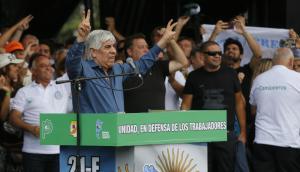 Hugo Moyano durante acto contra Macri. Foto: La Nación   GDA
