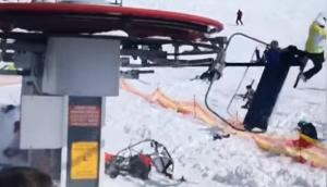 Las aerosillas de una estación de esquí dejaron varios heridas. Foto: Captura