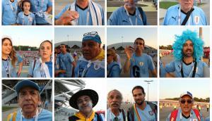 Hinchas celestes tras la victoria de Uruguay.