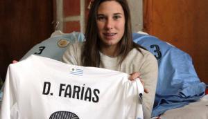 Daiana Farías, jugadora de la selección uruguaya de fútbol. Foto: Mateo Vázquez