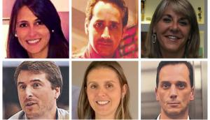 Arriba: Patricia Churi, Sebastián Fernández, Lidia Morus. Abajo: Mauricio Pintado, Cecilia Pérez y Marcelo Rodríguez.