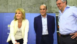 Cosse, Martínez y Villar, los candidatos del FA a la IMM. Foto: @cossecarolina