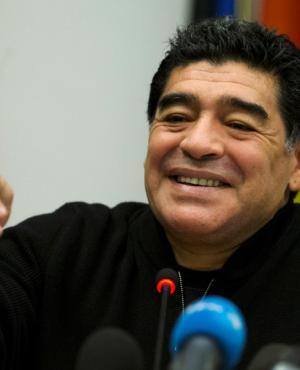 Diego Maradona en el Mundial de Brasil 2014. Foto: Reuters