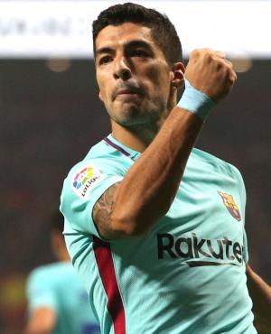 Luis Suárez festeja el gol del Barcelona. Foto: Reuters