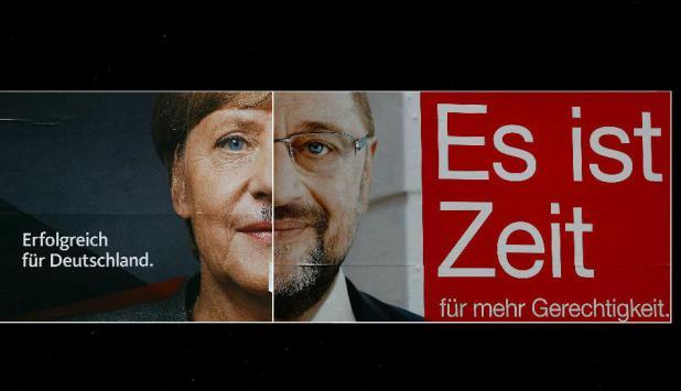 Martin Schulz y Angela Merkel. Foto: Reuters