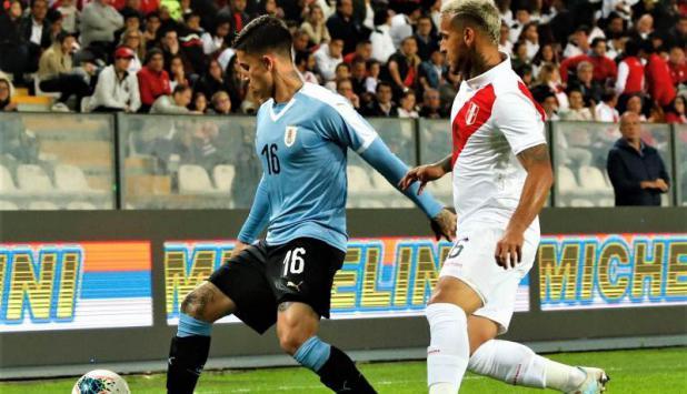 Brian Rodríguez - Uruguay vs. Perú. Foto: @Uruguay