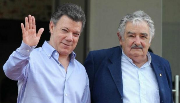 Mujica y Santos en 2013, al inicio del dialogo con las FARC. Foto: Efe.
