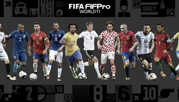 Gianluigi Buffon; Dani Alves, Sergio Ramos, Leonardo Bonucci, Marcelo; Toni Kroos, Andrés Iniesta, Luka Modric; Neymar, Lionel Messi y Cristiano Ronaldo en el once ideal de FIFA y FIFPro