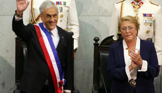 Michelle Bachelet y Sebastián Piñera. Foto: AFP
